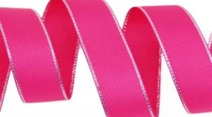 Hot Pink Grosgrain - Silver Edged