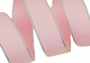 Pink Grosgrain - Silver Edged