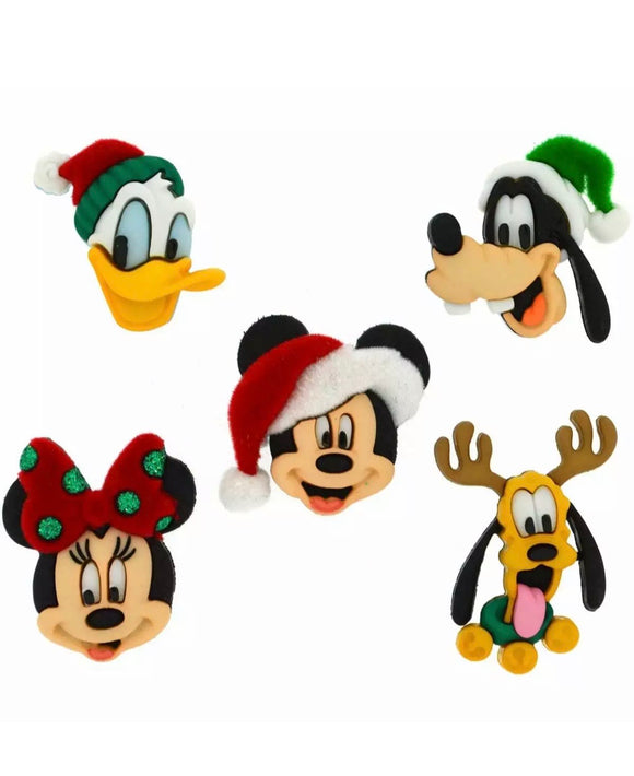 Disney Holiday Heads Christmas Dress it up Buttons