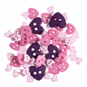 Trimits Mini Craft Buttons - Hearts - Lilac