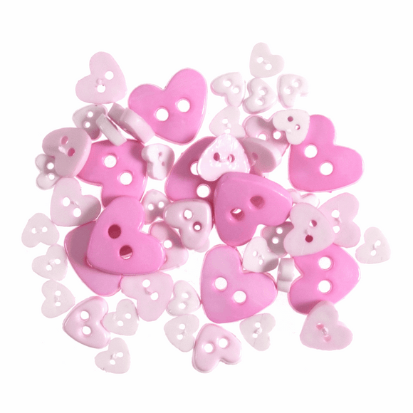 Trimits Mini Craft Buttons - Hearts - Pink