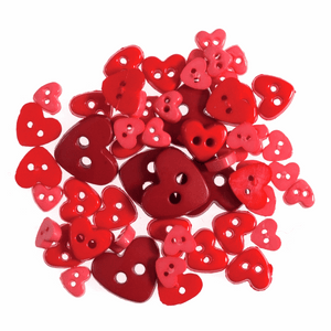 Trimits Mini Craft Buttons - Hearts - Red