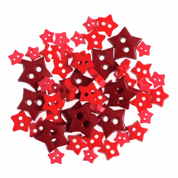 Trimits Mini Craft Buttons - Stars - Red