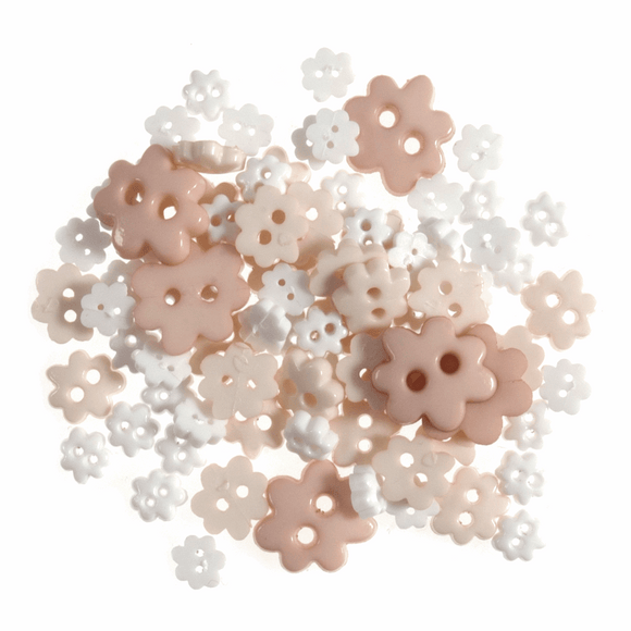 Trimits Mini Craft Buttons - Flowers - White & Cream