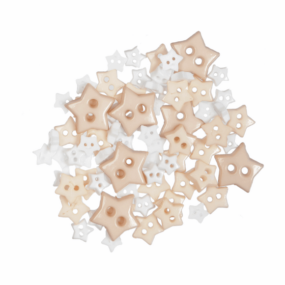 Trimits Mini Craft Buttons - Stars - White & Cream
