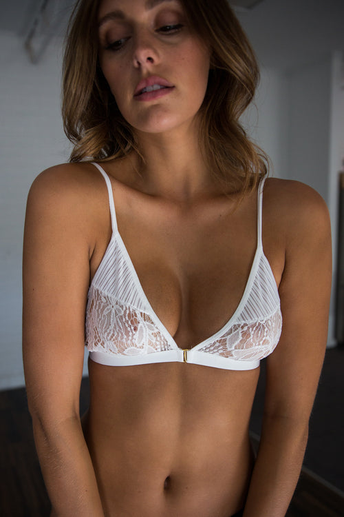 Peaches and Cream Bralette - WHITE