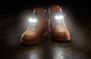 Night Shift Shoe Lights - Front View on Work Boots