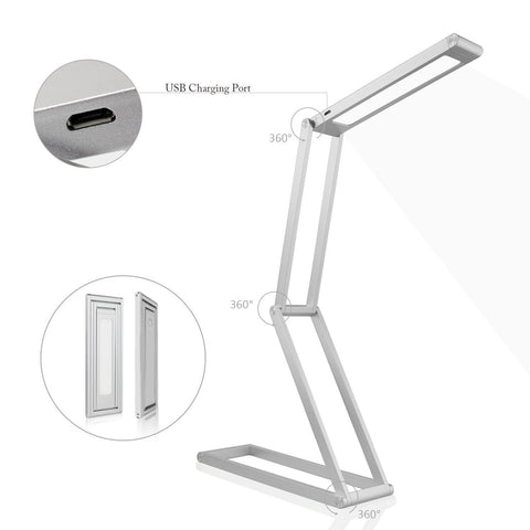 LeFun Aluminum Alloy Foldable LED Desk Lamp with 2 Level Dimmer and Built in Battery