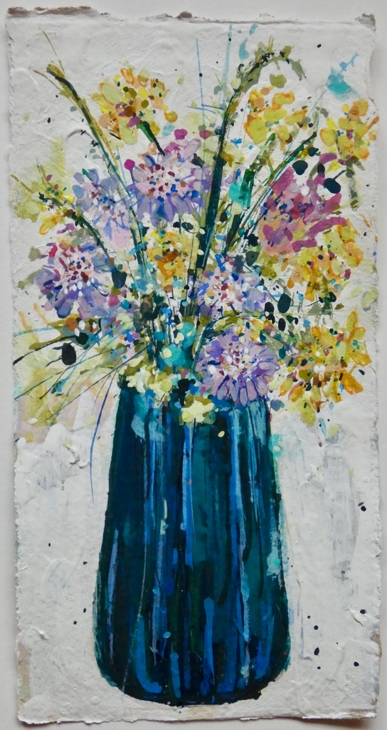 Artist Support Pledge Painting 'Field Scabious' 11cm x 20cm
