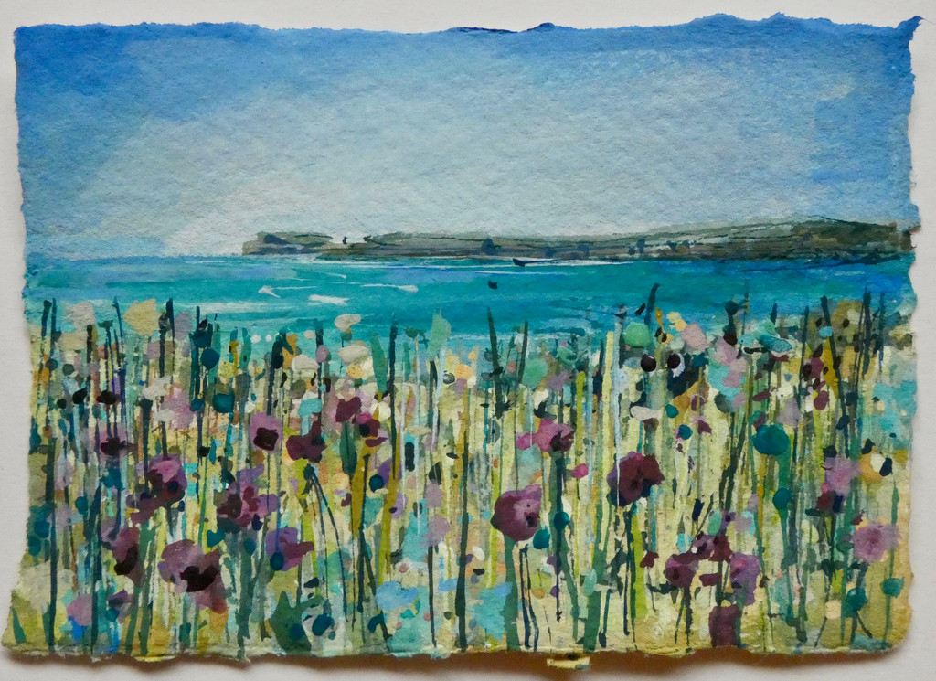 Artist Support Pledge Painting 'Thistles, Pentire'