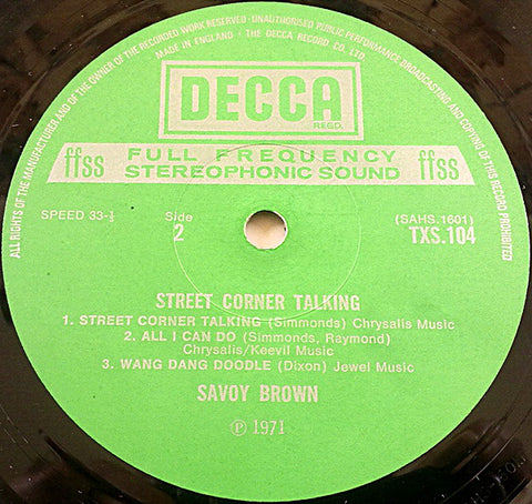 Savoy Brown - Street Corner Talking - LP - 1971 UK 1st Press