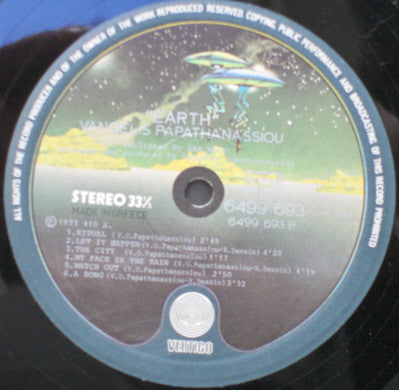 Vangelis O. Papathanassiou - Earth - LP 1973 Greek Press