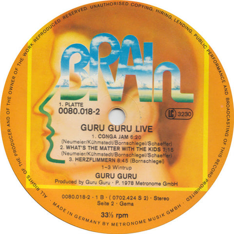Guru Guru - Live - 1978 Brain German Press Double LP