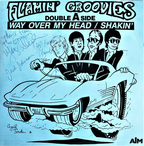 "The Flamin' Groovies ‎– Way Over My Head / Shakin'- 45'lik / 7"" - 1987 (İMZALI)"