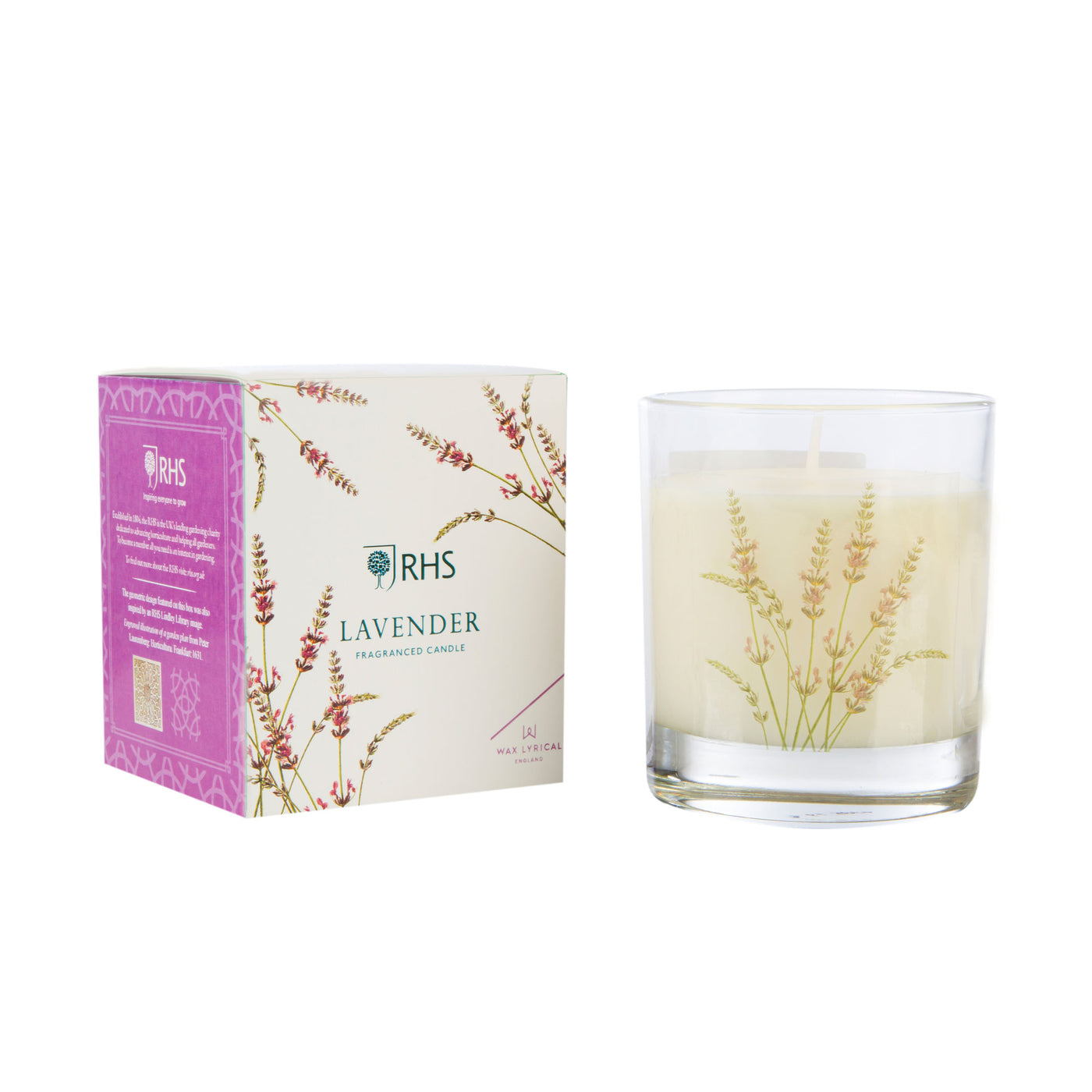 RHS Medium Glass Candle, Lavender