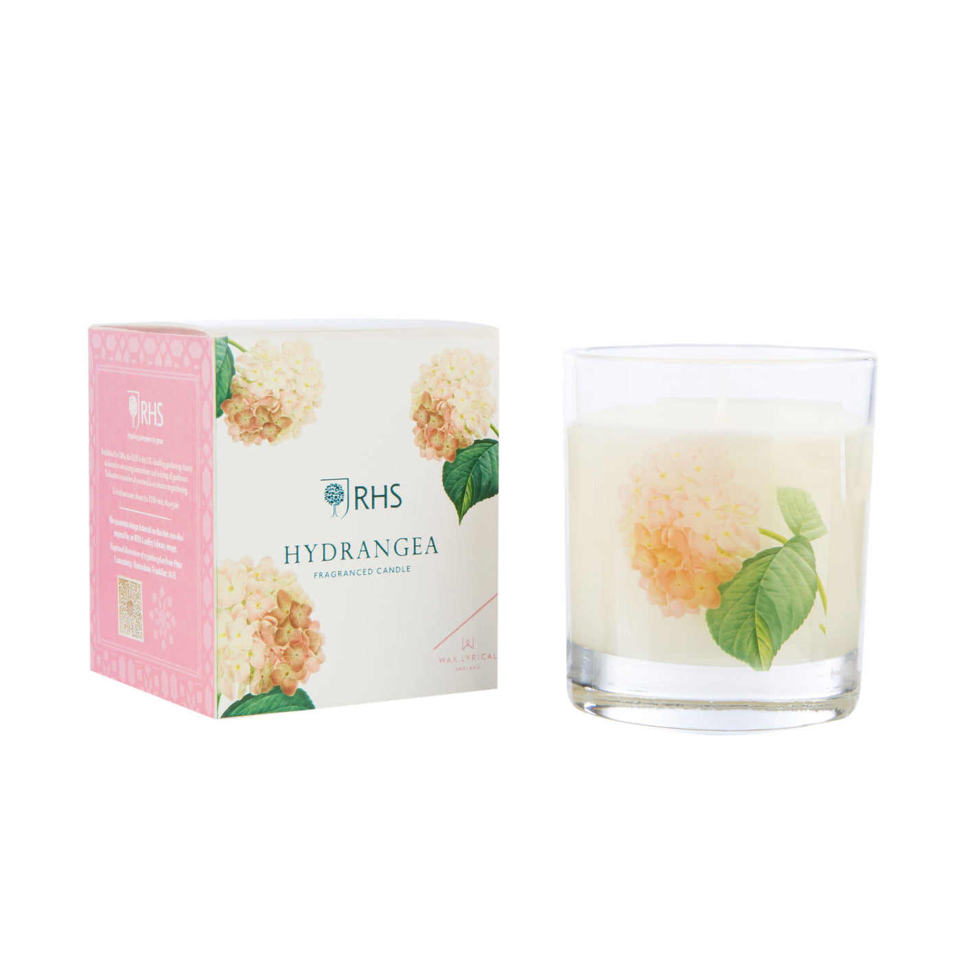RHS Medium Glass Candle, Hydrangea