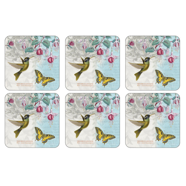Botanic Hummingbird Coasters, Set of 6