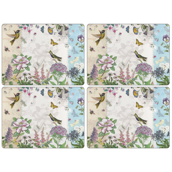 Botanic Hummingbird Mats, Set of 4