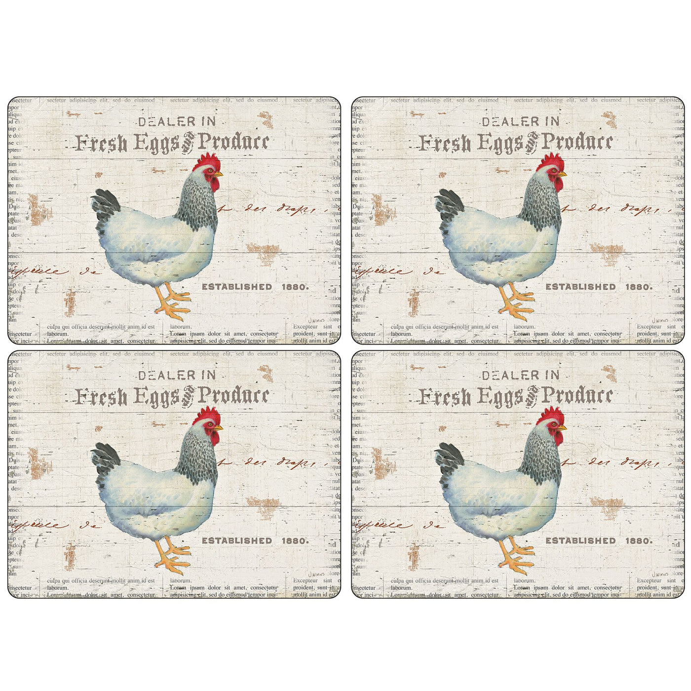 On The Farm Mats ,Set of 4