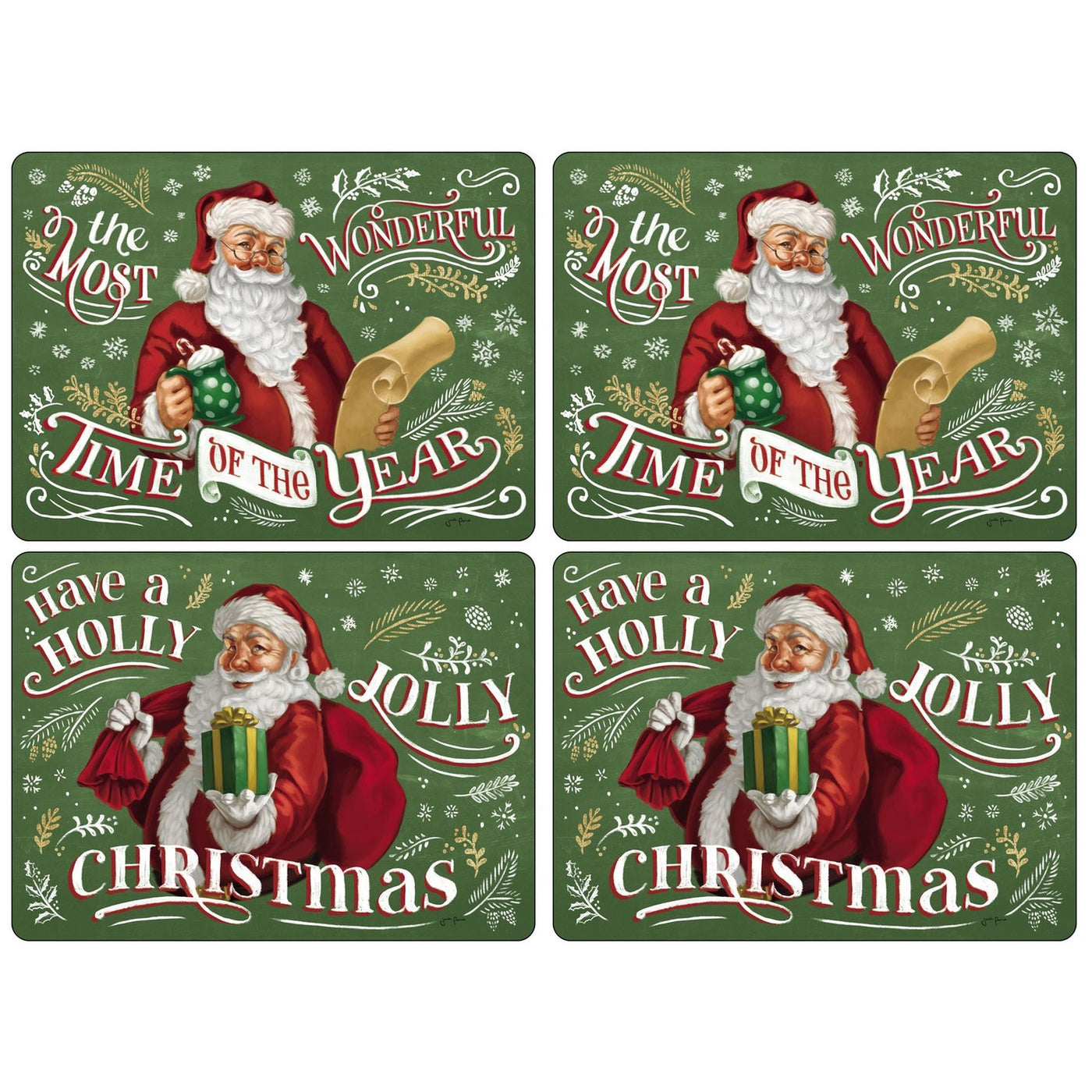 Santa's List Mats, Set of 4