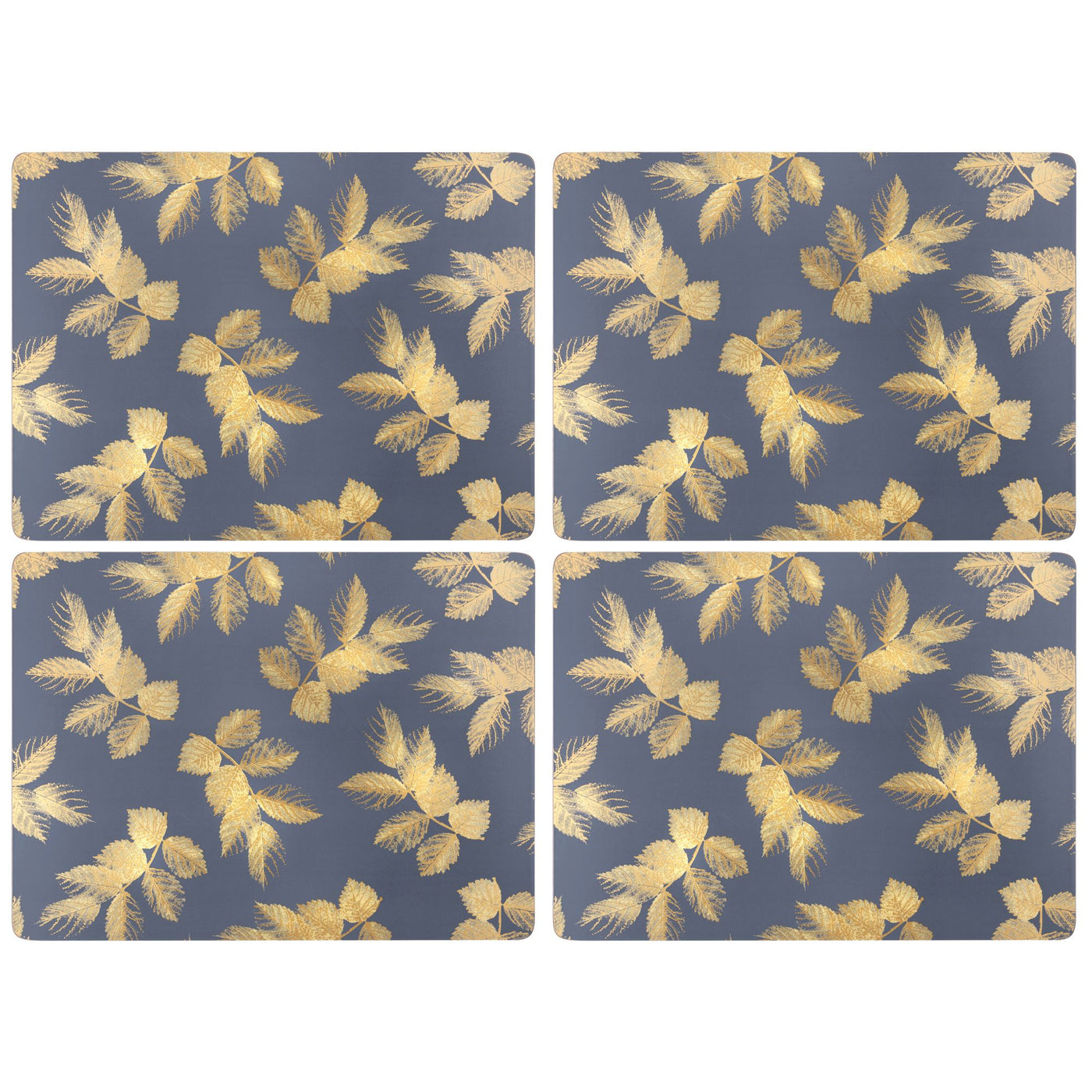 Sara Miller Etched Leaves Navy Luncheon Mats,Set of 4