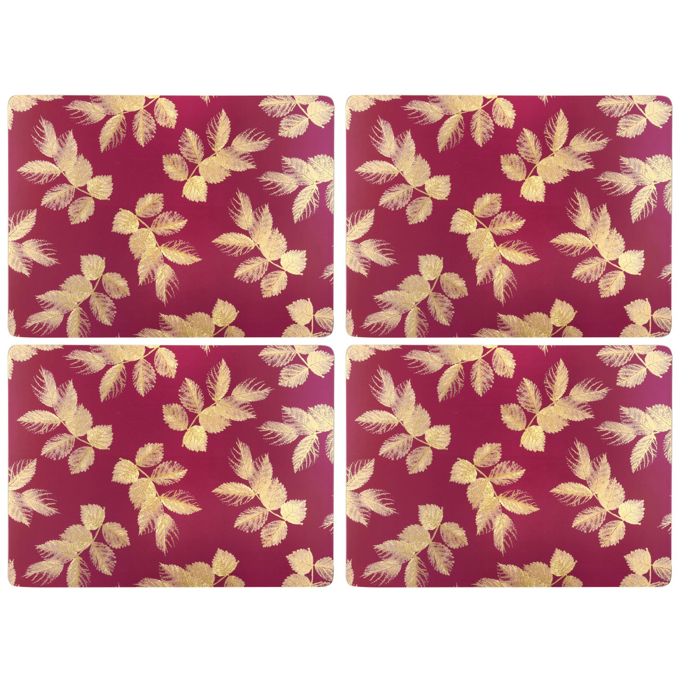 Sara Miller Etched Leaves Pink Mats,Set of 4