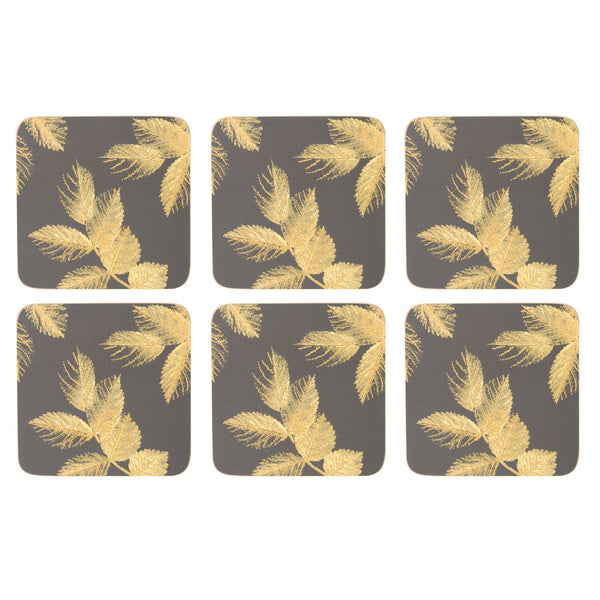 Sara Miller Etched Leaves Dark Grey Coasters,Set of 6