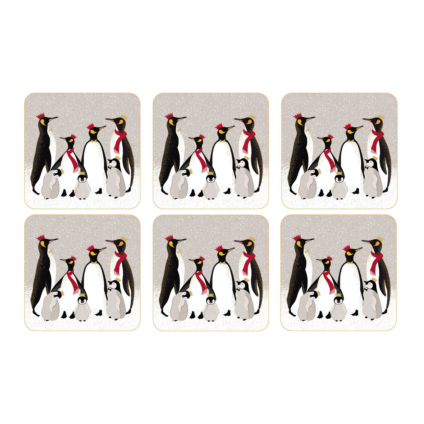 Sara Miller Christmas Penguin Coasters, Set of 6