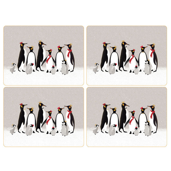 Sara Miller Christmas Penguin Mats, Set of 4