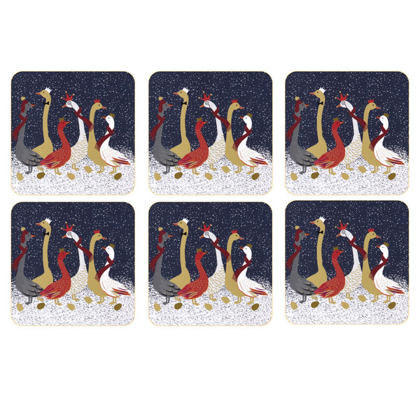 Sara Miller Christmas Geese Coasters, Set of 6