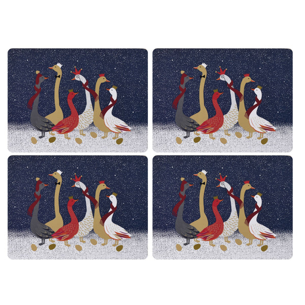 Sara Miller Christmas Geese Mats, Set of 4