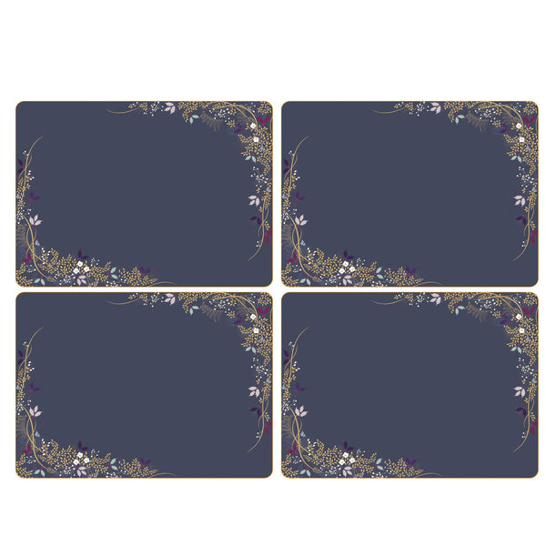 Sara Miller Christmas Garland Mats, Set of 4