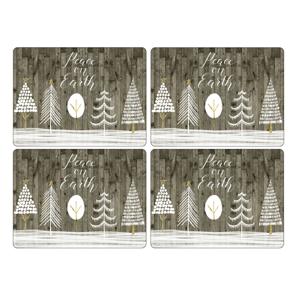 Wooden White Christmas Mats, Set of 4