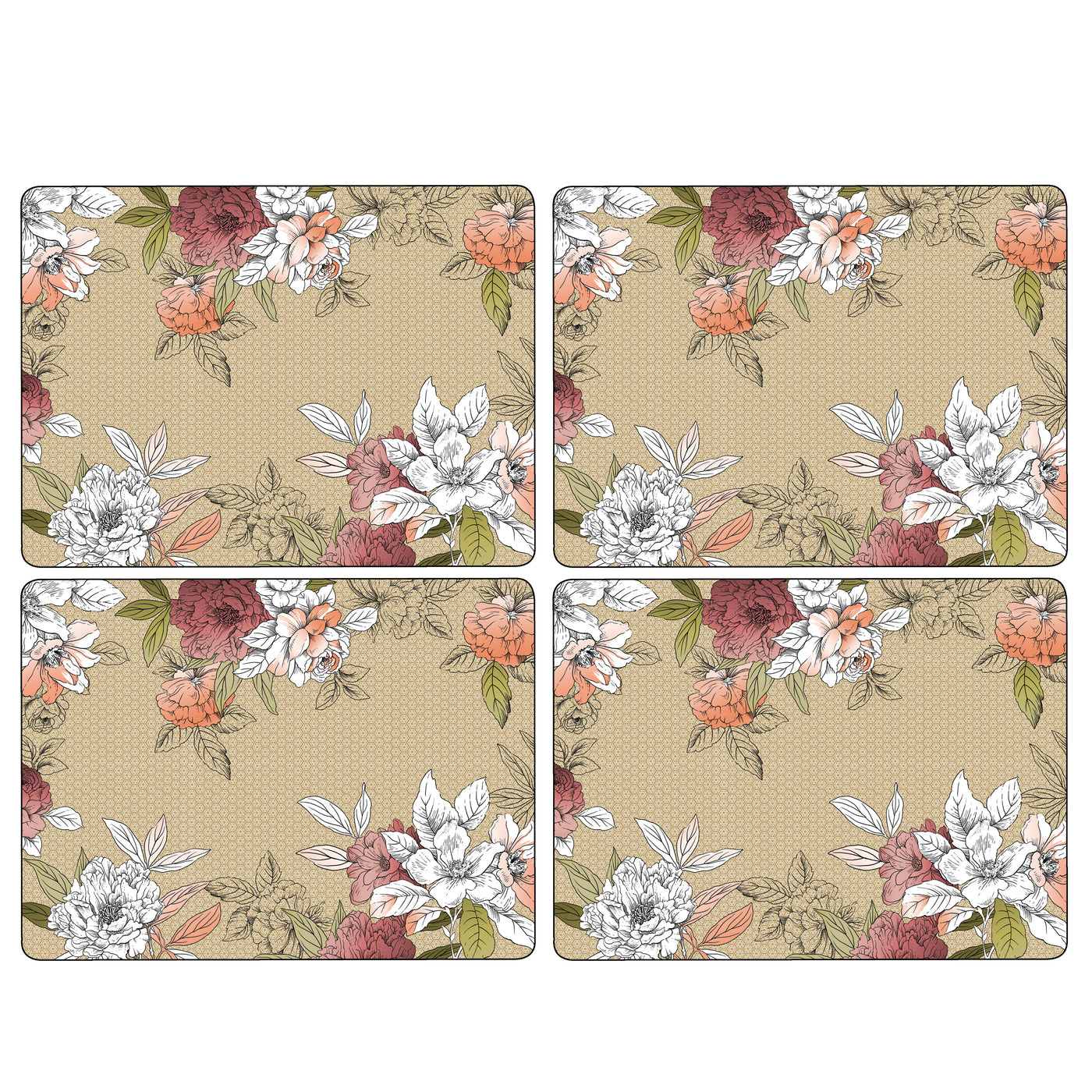 Floral Sketch Mats, Set of 4