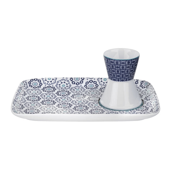 Blanchard Blue Egg Cup & Snack Plate