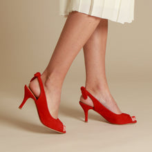 Load image into Gallery viewer, Harlow Suede Red Heel Sandal