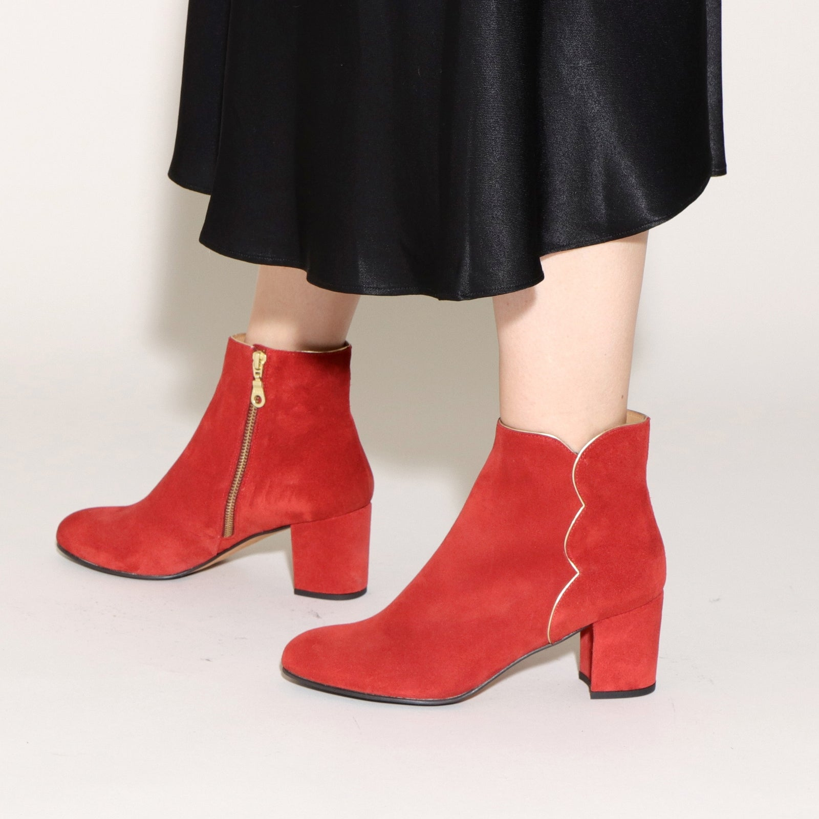 NAYA Suede Red & Nappa Gold
