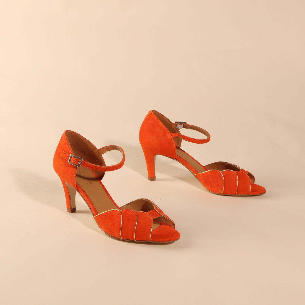 PHOEBE Suede Orange & Gold - Last pair 37
