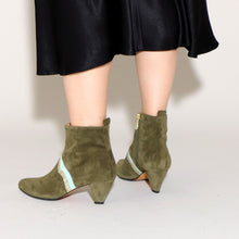 Load image into Gallery viewer, Karen Suede Olive & Glitter - last pairs 37 & 38