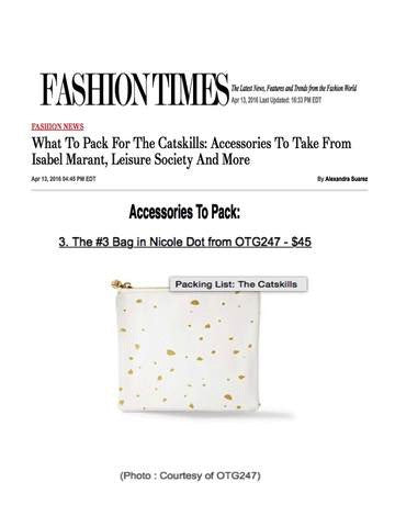 FASHION TIMES What to Pack for the Catskills: Accessories