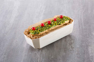 pistachio eclair baked in wood