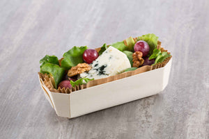 small salad prepped in panibois biodegradable serving dish