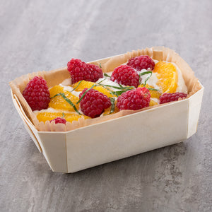 fruit parfait served in wooden pan