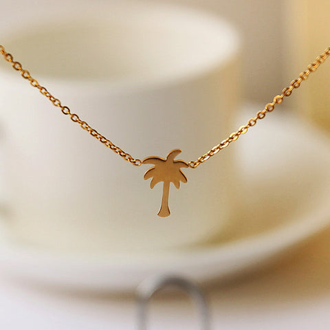 Christmas gift collares choker coconut tree stainless steel gold christmas gift collares choker coconut tree stainless steel gold palm tree pendant necklaces for women men mozeypictures Gallery