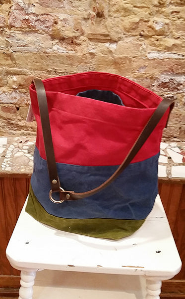 Tri-Color Waxed Canvas Tote - Cherry/Denim Blue/Olive