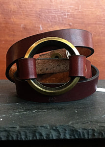 Antique Brass Beveled O-Ring Chestnut Wrap Bracelet - Triple Wrap