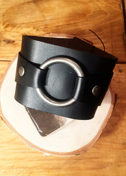 Black Chromexcel Horween Leather Cuff w/ Matte Silver O-Ring