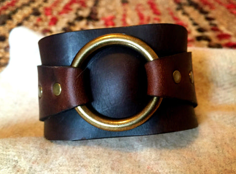 Wide Leather O-Ring Cuff - Brown & Black