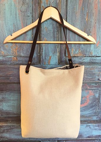 Felted Wool Bucket Tote - Cream