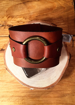 Cognac Horween Leather Cuff w/ Antique Brass O-Ring